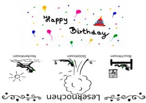 Happy Birthday - Geburtstag Banderole Leseknochen